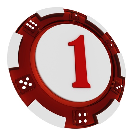 Poker chip font  3D Rendered Casino Style  Letter 1 over white background photo