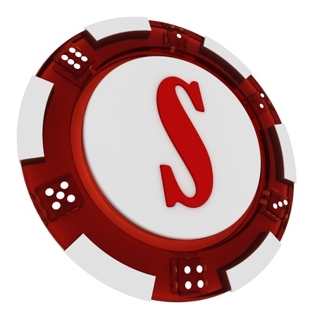 Poker chip font  3D Rendered Casino Style  Letter S over white background photo