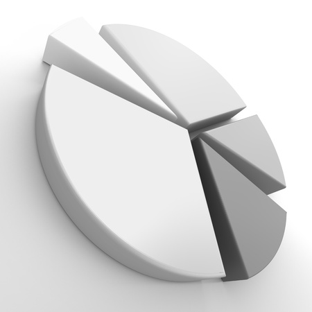 A 3d pie chart graph over white  High resolution render
