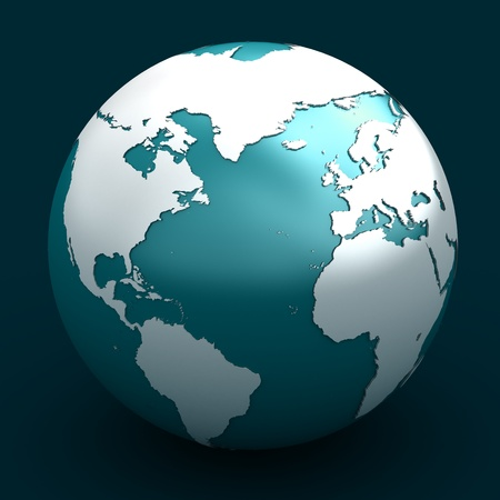 3D render of planet earth over white background Stock Photo
