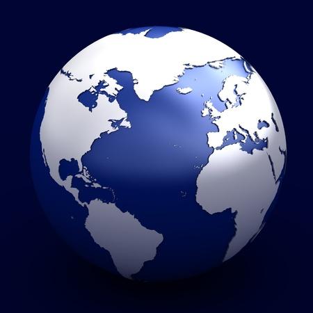 atlantic ocean: 3D render of planet earth over white background Stock Photo