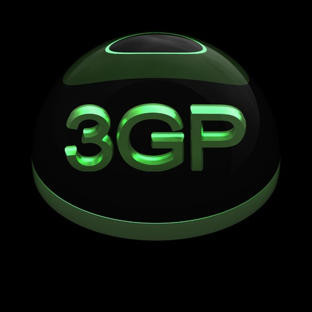 compatible: 3D Style file format icon over black background - 3GP Stock Photo