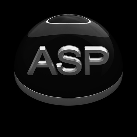 asp: 3D Style file format icon over black background - ASP