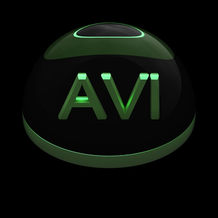 avi: 3D Style file format icon over black background - AVI Stock Photo