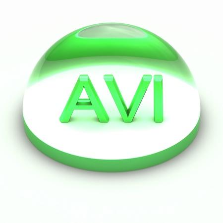 avi: 3D Style file format icon over white background - AVI Stock Photo