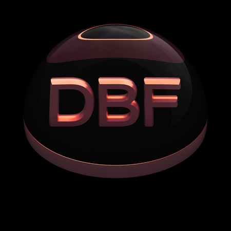 compatible: 3D Style file format icon over black background - DBF