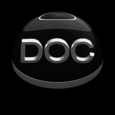 compatible: 3D Style file format icon over black background - DOC Stock Photo