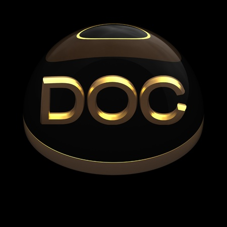 docs: 3D Style file format icon over black background - DOC Stock Photo