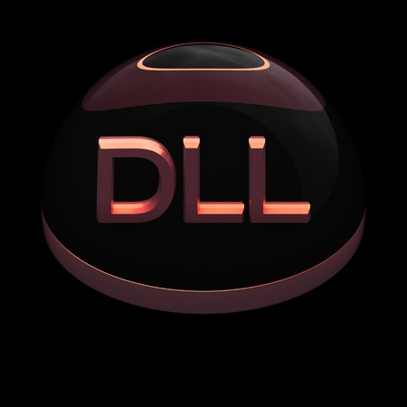 compatible: 3D Style file format icon over black background - DLL