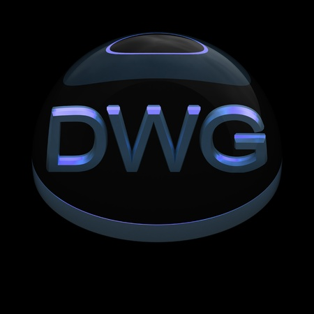 compatible: 3D Style file format icon over black background - DWG
