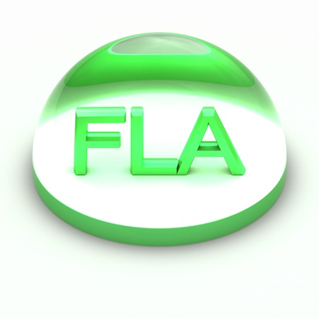compatible: 3D Style file format icon over white background - FLA
