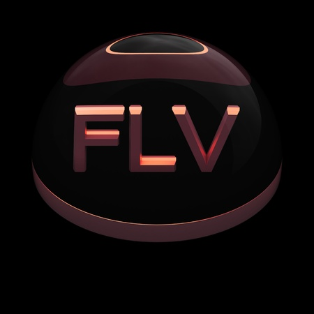 3D Style file format icon over black background - FLV Stock Photo