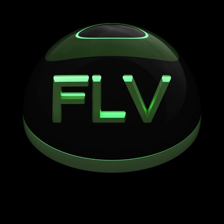 compatible: 3D Style file format icon over black background - FLV Stock Photo