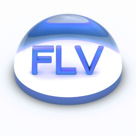 png: 3D Style file format icon over white background - FLV Stock Photo