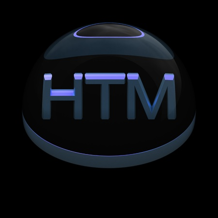 htm: 3D Style file format icon over black background - HTML