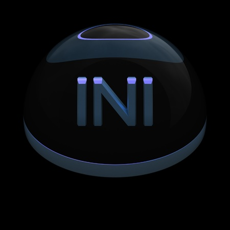 ini: 3D Style file format icon over black background - INI