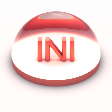 ini: 3D Style file format icon over white background - INI Stock Photo