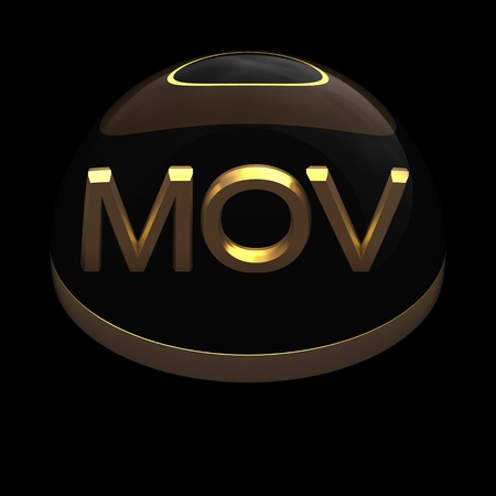 mov: 3D Style file format icon over black background - MOV