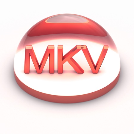compatible: 3D Style file format icon over white background - MKV