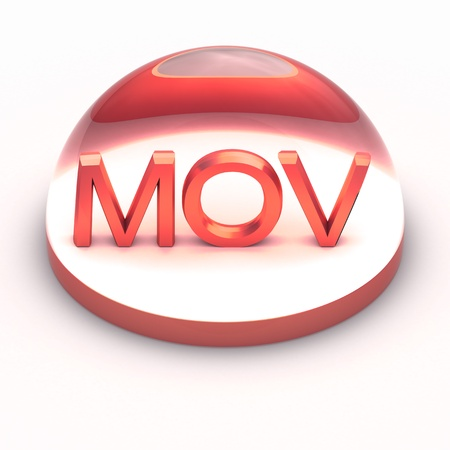 3D Style file format icon over white background - MOV Stock Photo