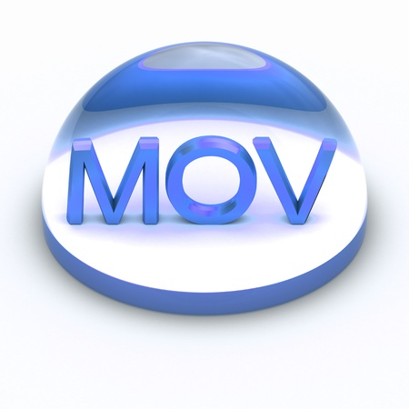 mov: 3D Style file format icon over white background - MOV Stock Photo