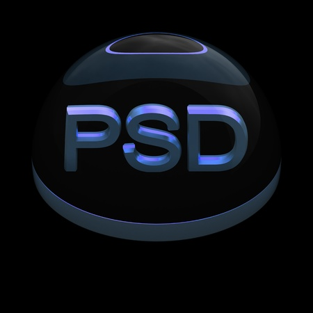 psd: 3D Style file format icon over black background - PSD
