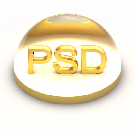 psd: 3D Style file format icon over white background - PSD