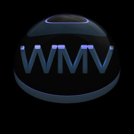 wmv: 3D Style file format icon over black background - WMV