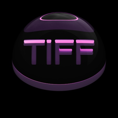 compatible: 3D Style file format icon over black background - TIFF Stock Photo