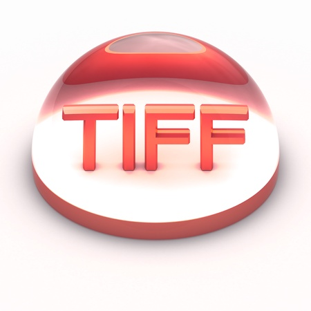 tiff: 3D Style file format icon over white background - TIFF