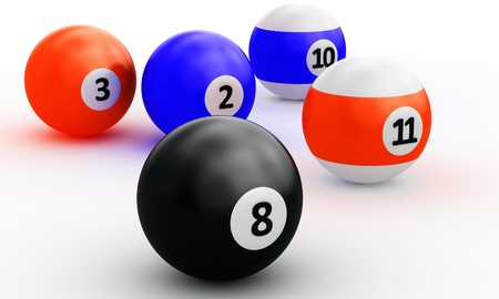 9 ball: A group of colorful pool balls on a white background Stock Photo
