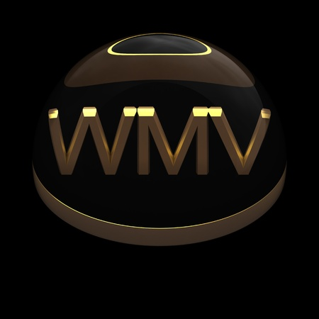 compatible: 3D Style file format icon over black background - WMV