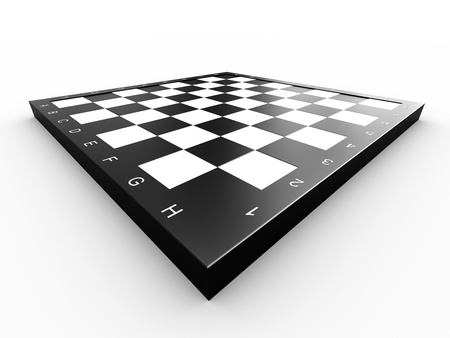 Empty colorless chess board over white background