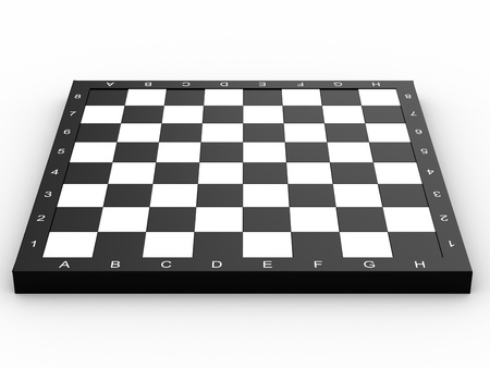 Empty colorless chess board over white background photo
