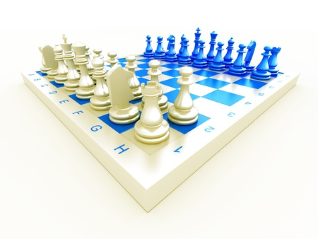 Chess pieces on a board on a white background Stock Photo - 13125936