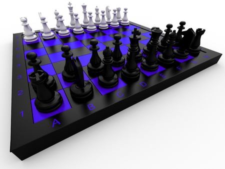 Chess pieces on a board on a white background photo