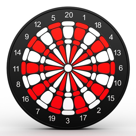 Dart Board  3D rendered illustration over white background