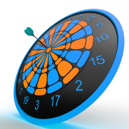 Dart Board  3D rendered illustration over white background Stock Illustration - 13145679