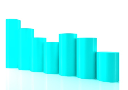 Falling bar chart from color blocks on white background photo