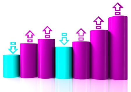 Growing bar chart from color blocks on white background photo