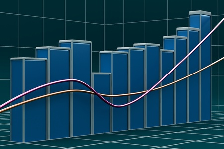 Growing bar chart from color blocks on white background Stock Photo - 13145724