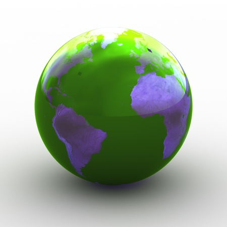 3D render of planet earth over white background photo