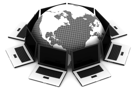 3D computer network communicating data each other Stock Photo - 13145737