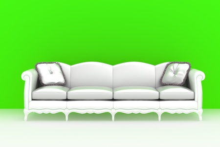Modern interior   White sofa with pillows over the color background photo