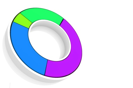 A colorful 3d pie chart graph over white  High resolution render photo
