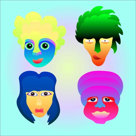 acid colors: face emotion icon set in acid colors Illustration