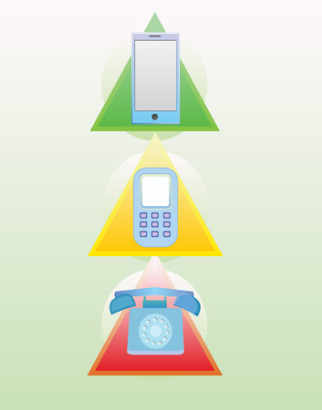 old phone: Phone evolution from old to new in red yellow and green soft colors Stock Photo