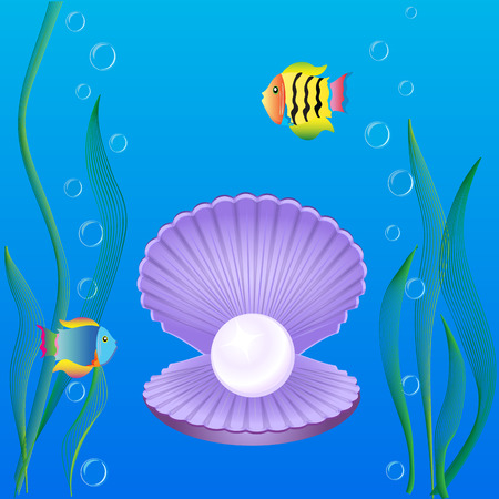 pearl shell: Marine theme with shell pearl seaweed and exotic fishes on a blue background