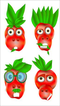 Un ensemble de quatre icônes avec des émotions heureuses et en colère dans la couleur rouge sur un fond blanc