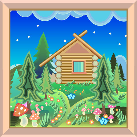 magical forest: landscape of a  wooden country house in a magical forest with flowers mushrooms and Christmas trees in bright colors  Decorated Picture Frame